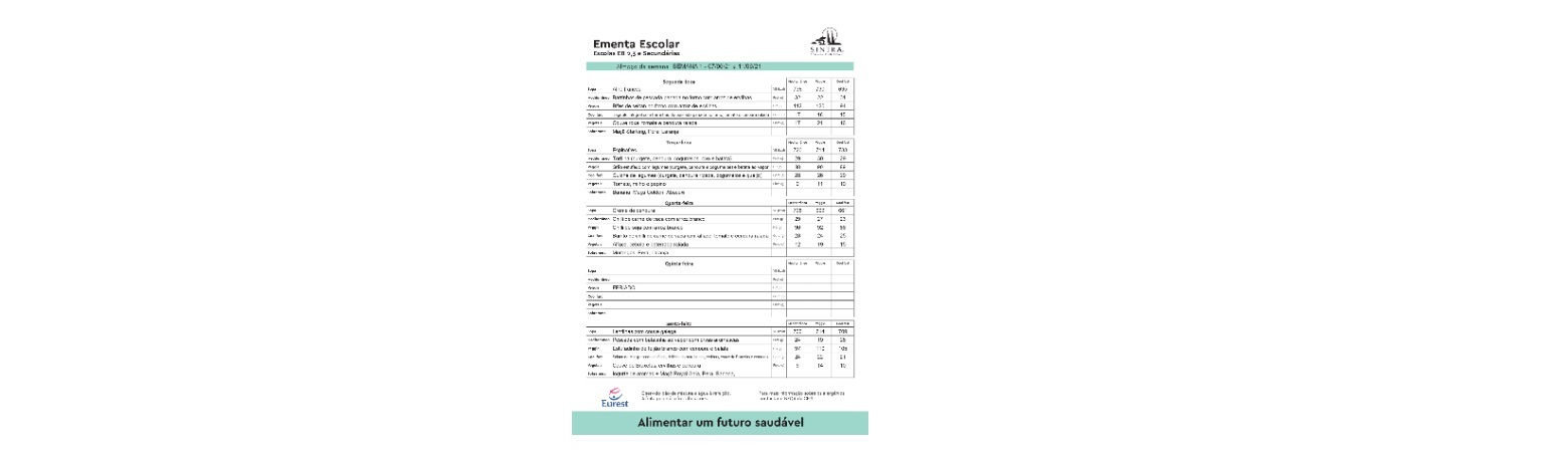 Ementa 2º/3º ciclos e Ensino Secundário